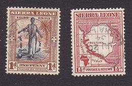 Sierra Leone, Scott #154-155, Used, Slave Throwing Off Shackles, Map, Issued 1933 - Sierra Leone (...-1960)
