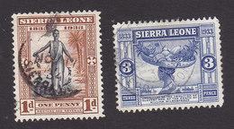 Sierra Leone, Scott #154, 157, Used, Slave Throwing Off Shackles, Fruit Seller, Issued 1933 - Sierra Leone (...-1960)