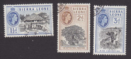 Sierra Leone, Scott #197-199, Used, Queen Elizabeth II, Issued 1956 - Sierra Leone (...-1960)