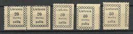 LITAUEN Lithuania 1919 Michel 5 - 8 Incl ERROR ABART Variety MH/MNH - Litauen