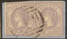 VICTORIA 1857 2d QV Pair SG 45 U #ABI183 - 1850-1912 Victoria