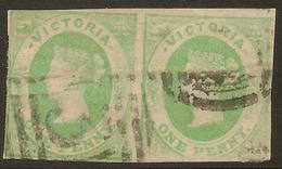 VICTORIA 1858 1d QV Pair SG 64 U #ABI185 - 1850-1912 Victoria