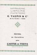 Imprimerie Librairie Papeterie G. Taupin & Cie. Recueil De Caractères Pour Cartes De Visite.  Hanoi, Tonkin. 1930 - Altri