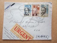 """VEND TIMBRES DE FRANCE N° 1348 - 1350 , CACHETS """" SAINTE-ADRESSE """" , SUR LETTRE , URGENT !!! - Briefe U. Dokumente"""
