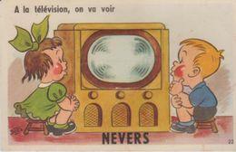 "58 ( Nevers "" A La Television On Va Voir "" ) - Cartoline Con Meccanismi"