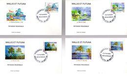 """(Faciale = 3.65 €) 4 Enveloppes 1er Jour De 2002 : """" PAYSAGES REGIONAUX """". Timbres Du N° 578 à 581. Parfait état - FDC"""