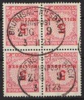 """Bahnpost """"Bruchsal- Milsbach"""", Sauberer Ovalstempel, 03.11.1923 Auf 4er Block DR 317A, O - Deutschland"""