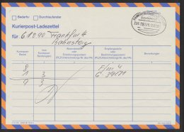 "Bahnpost, ""Hannover- Frankfurt/Main"", Kurierpost- Ladezettel, 15.10.1993, Selten - BRD"