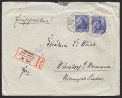 """87 I, MeF Mit 2 Werten Auf R- Brief""""Hindenburg/Sachsen"""", 22.07.1913 - Deutschland"""