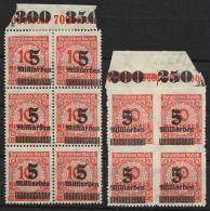 "334 A/B, Plattendruck, 6er Bzw. 4er Block Mit Oberrand ""Stettin"", Falz Im Rand,**/* - Ungebraucht"