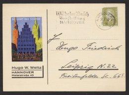 """465, EF Auf Dek. Werbekarte """"Hannover"""" Mit Pass. Werbestempel """"Wilhelm Busch"""", 09.07.1932,Marke Eckfelder - Deutschland"""