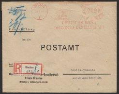 """""""Breslau"""", Dt. Bank, Postauftrag, R- Brief, 1937, Seltener Tarif Zu 62 Pfennig - Briefe U. Dokumente"""