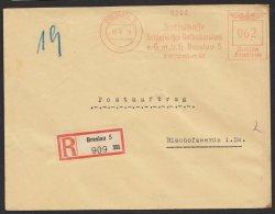 """""""Breslau"""", Schlesische Volksbank, Postauftrag, R- Brief, 1939, Seltener Tarif Zu 62 Pfennig - Deutschland"""