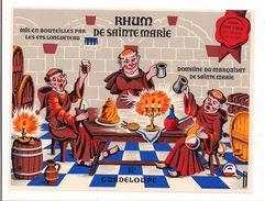 Etiquette  RHUM  De SAINTE MARIE -  LONGUETEAU - Grappe Blanche 55° Gay Lussac - Marquisat Ste Marie - GUADELOUPE -- - Rhum
