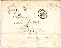 Cursive 83 VINCELLES Cachet Auxerre Yonne Et Dateur B Lettre 27 Fev 1853 Ind 13 = 100 Euro - Marcophilie (Lettres)