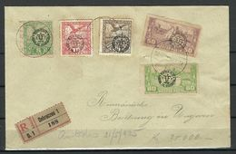 ROMANIA Rumänien 1920 Occupation In Hungary 5 Stamps + Registration Label Debreczen Debreccent On Cover - Foreign Occupations