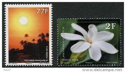 Polynésie Française 2014 - Soleil Couchant Et Fleur Tiare - 2 Val Neufs // Mnh // Rares - Polynésie Française