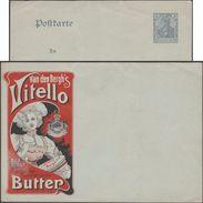 Allemagne 1902. Entier Publicitaire. Vitello Van Den Bergh, Margarine, Ersatz Du Beurre. Jolie Jeune Femme - Alimentation