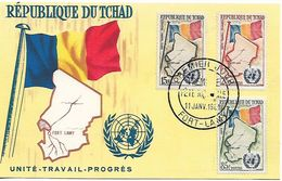 CHAD - TCHAD 1961 Sc#67-69, FLAGS, Member Of U.N. Complete Set On A Maximum CardUNUSED - Stamps