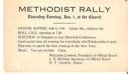 Postage Paid One Cent United States Post Card Invitation To Methodist Rally Newport? Vermont 1919 - Christianity