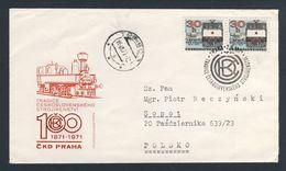 Tschechoslowakei Czechoslovakia 1971 FDC + Mi 2021 - Cent. Prague C.K.D. Locomotive Works / Maschinenfabrik Praha - Treinen