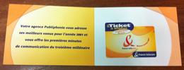 FRANCE TELECOM TICKET TELEPHONE ENCART VOEUX 2001 CARTE TÉLÉPHONIQUE A CODE PHONECARD PAS TELECARTE POUR LA COLLECTION - France