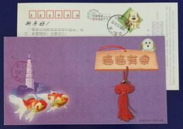Ornamental Golden Fish,China 2006 Zhejiang New Year Greeting Advertising Pre-stamped Card - Fishes
