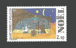 ST PIERRE 1992 CHRISTMAS CHILDS ART NATIVITY SET MNH - Unused Stamps