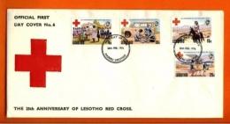 LESOTHO, 1976, Mint F.D.C., MI 195-198, Red Cross, F3417 - Lesotho (1966-...)
