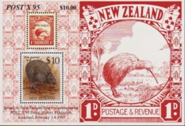 NEW ZEALAND 1995 Post X Postal History Exhibition, Birds, Kiwi, Fauna MNH - Nouvelle-Zélande
