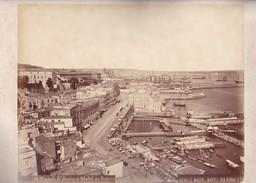 ACHILLE MAURI. S.LUCIA E HOTEL DE ROME, NAPOLI.ORIGINAL,RARE CIRCA 1870S 36.7X31.9CM - ITALY/ITALIA- BLEUP - Photographs