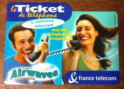 FRANCE TELECOM TICKET TELEPHONE AIRWAVES CARTE TÉLÉPHONIQUE A CODE PHONECARD NO TELECARTE - France