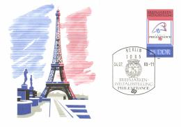 DDR 1989 Stamped Stationary Card Philexfrance 89 Cancellation Berlin 4-Jul-1989, Eiffel Tower - Monuments