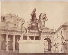 ACHILLE MAURI. CARLO III DI CANOVA IN PIAZZA PLEVISC, NAPOLI.ORIGINAL,RARE CIRCA 1870S 36.7X31.9CM - ITALY/ITALIA- BLEUP - Photographs