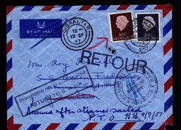 A4905) Niederlande Netherlands Cover 1957 To A Ship In Gibraltar And Retour - 1949-1980 (Juliana)