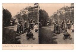 Carte Stéréoscopique Stéréo 025, Paris LL 12, Vue Sur Les Grands Boulevards - Cartes Stéréoscopiques