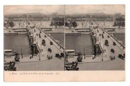 Carte Stéréoscopique Stéréo 034, Paris LL 4, Le Pont Et La Place De La Concorde - Cartes Stéréoscopiques