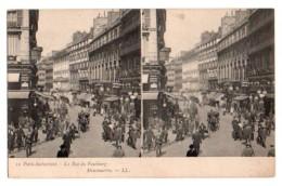 Carte Stéréoscopique Stéréo 038, Paris-Instantané LL 10, La Rue Du Faubourg Montmartre - Cartes Stéréoscopiques