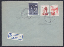 Yugoslavia 1961 Pilot Edvard Rusjan, Registered Letter Sent From Arandjelovac To Beograd - 1945-1992 Socialist Federal Republic Of Yugoslavia