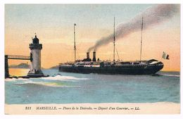 CPA : MARSEILLE - Phare De La Désirade - Départ D'un Courrier - Bateau Navigation - Commerce