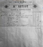 Facture De Mlles ESTIOT Robes Et Confection à Paris à Mme AURIOL - Datée Janvier 1890 - BE - France