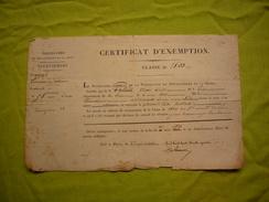 Certificat D'exemption 1834 Fait à Paris Pour Victor Louis Paliard - Documents