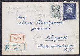 Yugoslavia 1961 Physician Mihajlo Pupin, Registered Letter Express, Zagreb - Beograd - 1945-1992 Repubblica Socialista Federale Di Jugoslavia