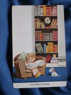 John Wills  Une Future Savante   Fillette, Livres, Chien - R162 - Künstlerkarten