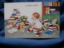 John Wills  Un Futur Savant  Petit Garçon Avec Des Lunettes Lisant Un Livre - écrite 1931 - R162 - Autres Illustrateurs