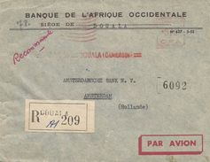 "Cameroun 1955 Douala Banque De L'Afrique Occidentale Satas ""SD"" 3147 EMA Meter Registered Cover - Kameroen (1915-1959)"