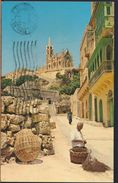 °°° 6525 - MALTA - GOZO MGARR - CHAPEL AND STATUE OF OUR LADY OF LOURDES - With Stamps °°° - Malta