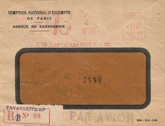 """Madagascar 1955 Tananarive Comptoir Nationale D'Escompte Satas """"SD"""" 015 EMA Meter Registered Cover - Madagaskar (1889-1960)"""