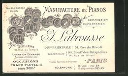CPA Paris, Manufacture De Pianos I. Labrousse, 51 Rue De Rivoli - France