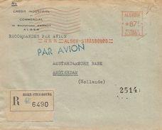 """Algier Algeria 1955 Alge´-Strasbourg Credit Industriel Havas """"C"""" 0003 EMA Meter Registered Cover - Algerije (1924-1962)"""